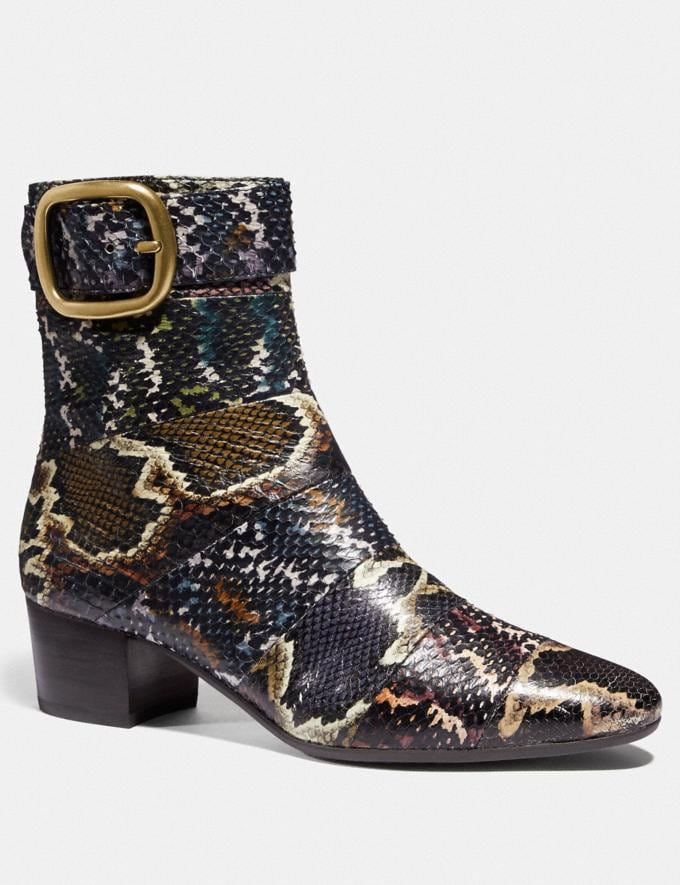 Coach Cassandra Bootie in Snakeskin Oxblood/Natural Multi Women Shoes Boots