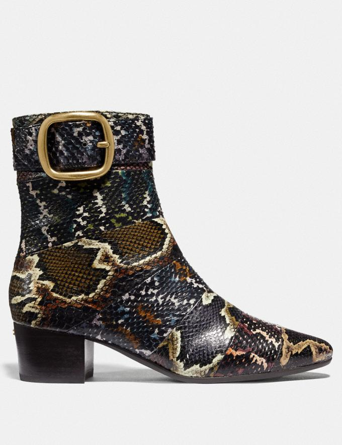 Coach Cassandra Bootie in Snakeskin Oxblood/Natural Multi Women Shoes Boots Alternate View 1