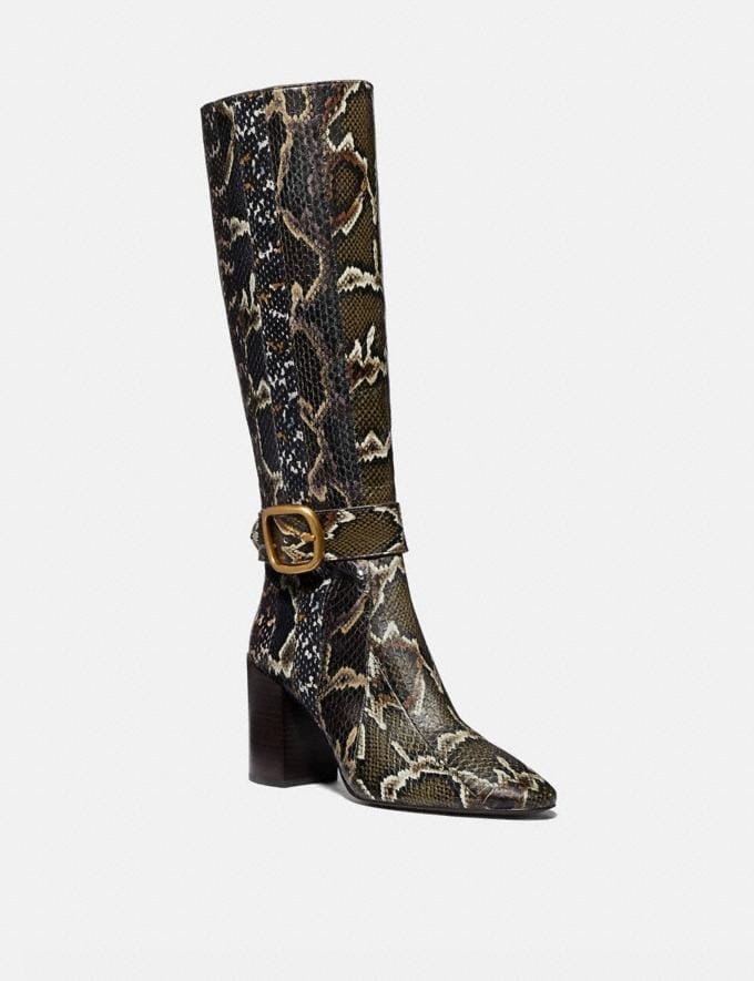 Coach Evelyn Boot in Snakeskin Oxblood/Natural Multi Women Shoes Boots