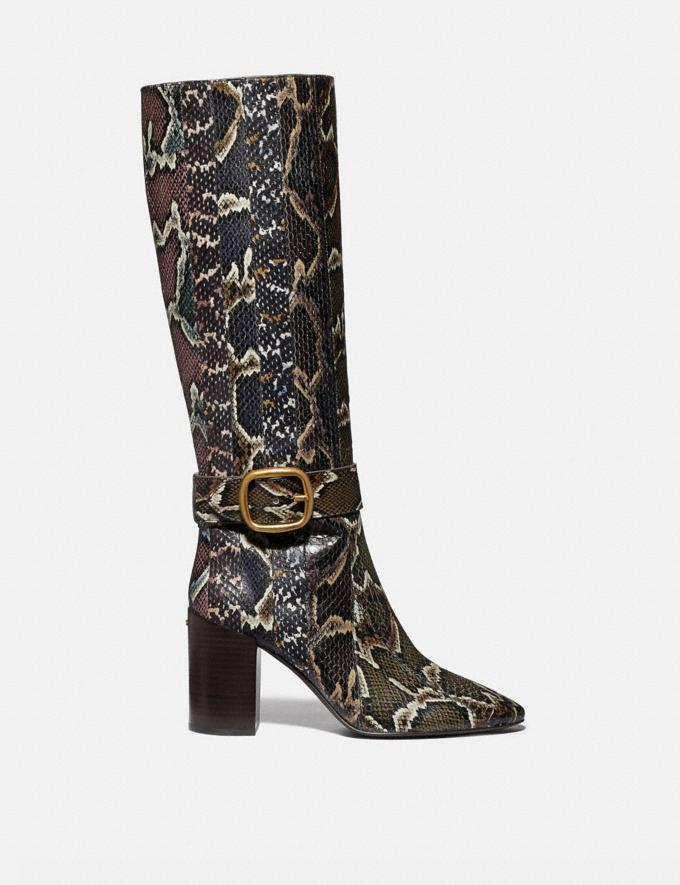 Coach Evelyn Boot in Snakeskin Oxblood/Natural Multi Women Shoes Boots Alternate View 1