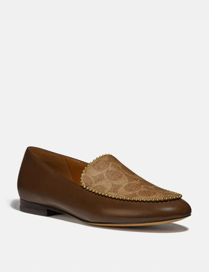 Coach Harper Loafer Dark Saddle/Tan Women Shoes Flats