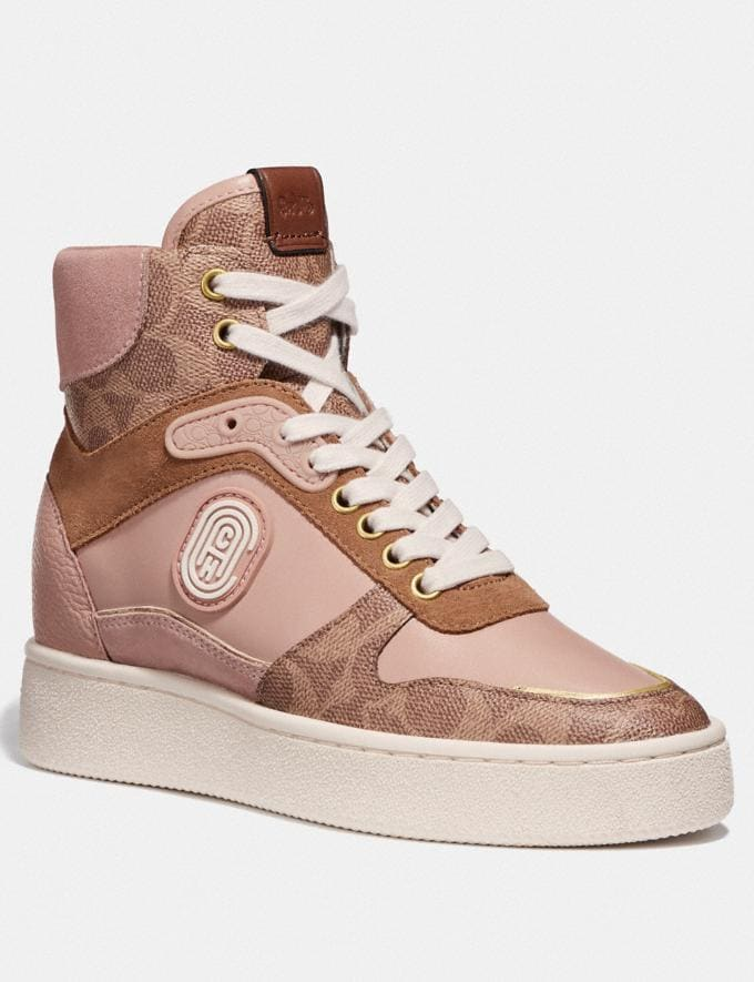 Coach C220 High Top Sneaker With Coach Patch Tan/Pale Blush New Women's New Arrivals Shoes