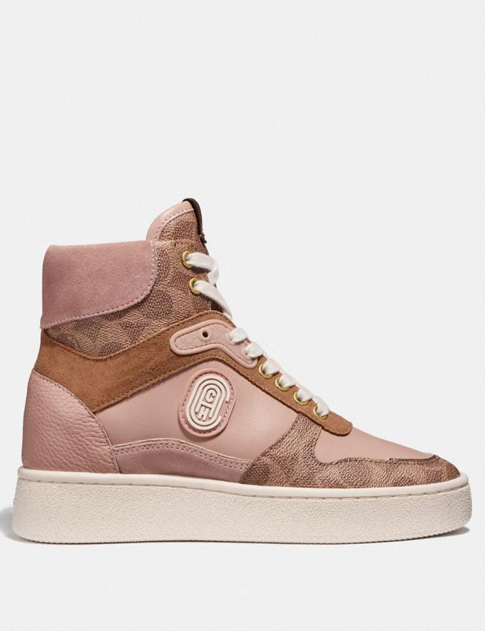 Coach C220 High Top Sneaker With Coach Patch Tan/Pale Blush New Women's New Arrivals Shoes Alternate View 1