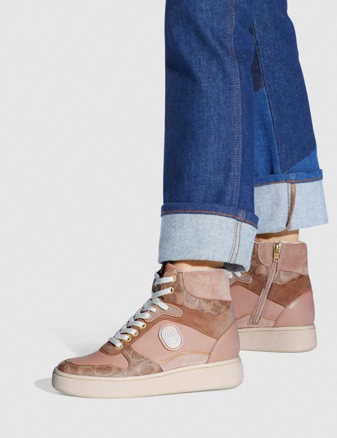 Coach C220 High Top Sneaker With Coach Patch Tan/Pale Blush New Women's New Arrivals Shoes Alternate View 4