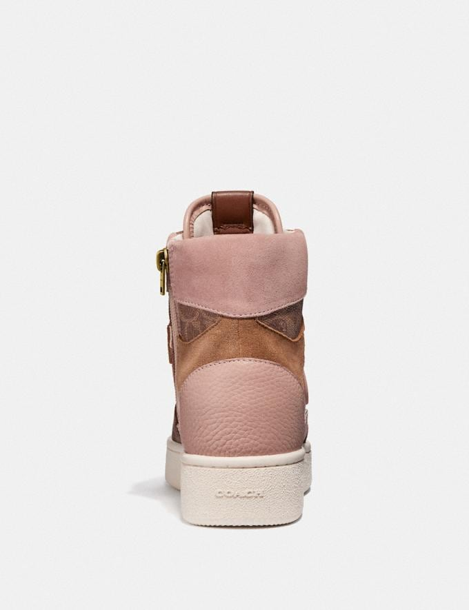 Coach C220 High Top Sneaker With Coach Patch Tan/Pale Blush New Women's New Arrivals Shoes Alternate View 3