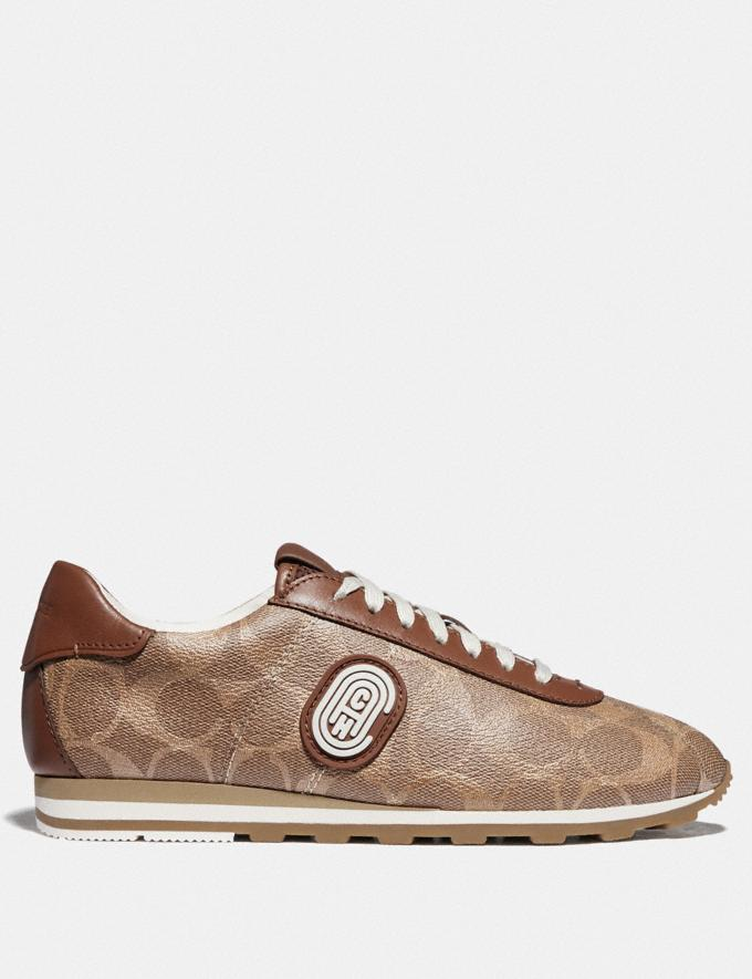 Coach C170 Retro Runner With Coach Patch Tan/Saddle VIP SALE Women's Sale Shoes Alternate View 1