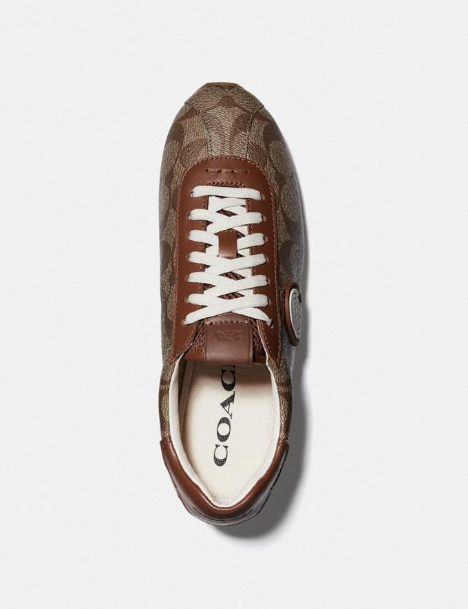 Coach C170 Retro Runner With Coach Patch Tan/Saddle VIP SALE Women's Sale Shoes Alternate View 2