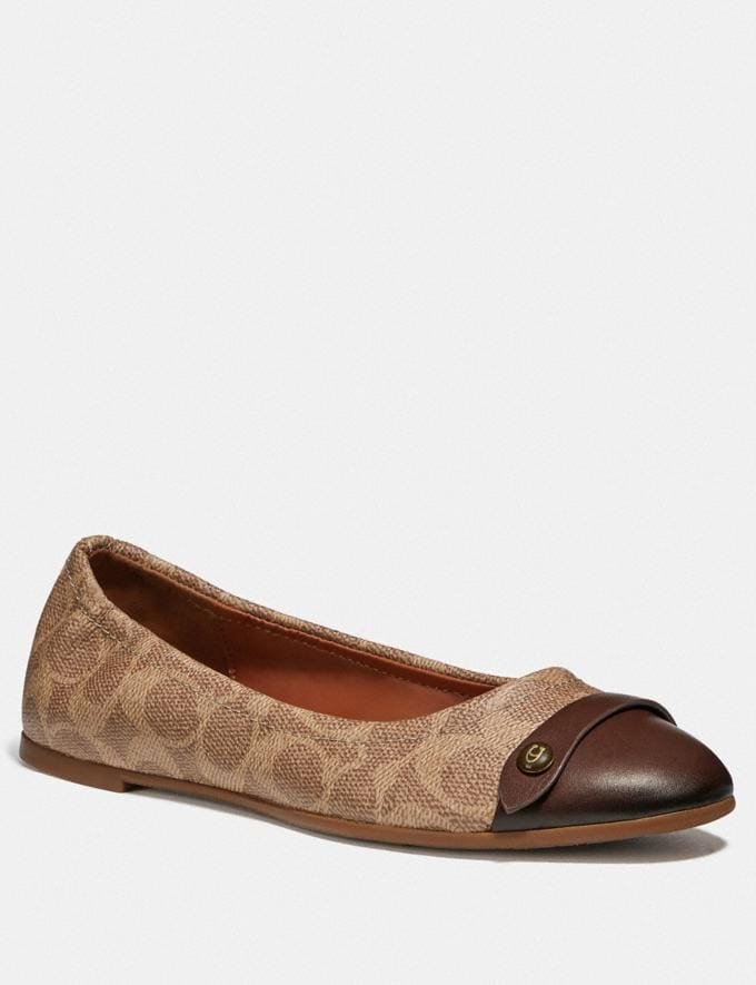 Coach Brandi Ballet Saddle/Tan Women Shoes Flats