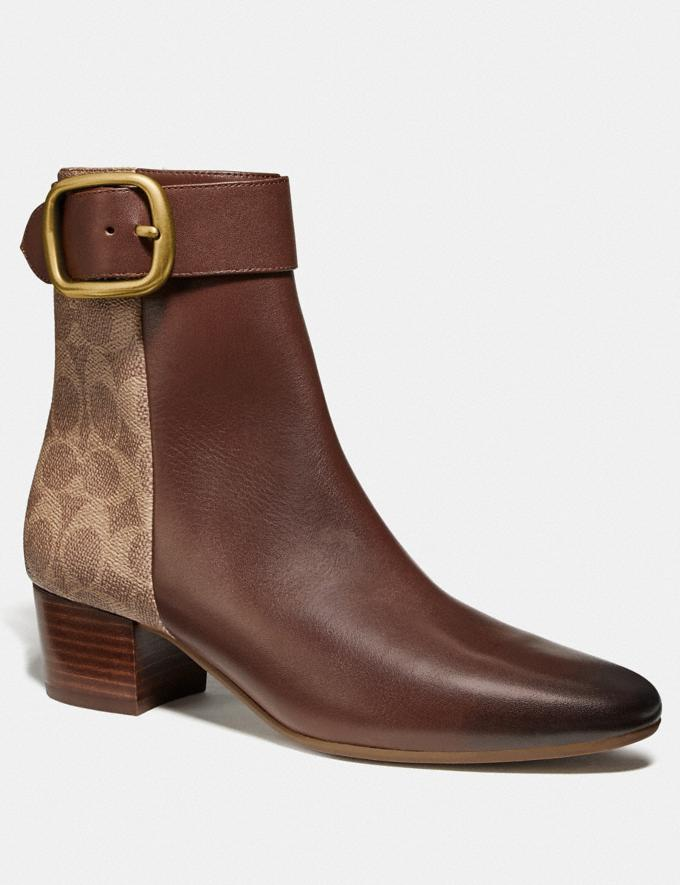 Coach Cassandra Bootie Dark Saddle/Tan New Women's New Arrivals Shoes