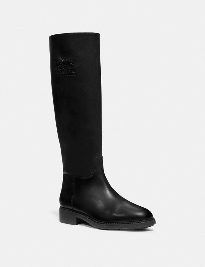 Coach Raee Riding Boot With Extended Calf Black Women Shoes Boots