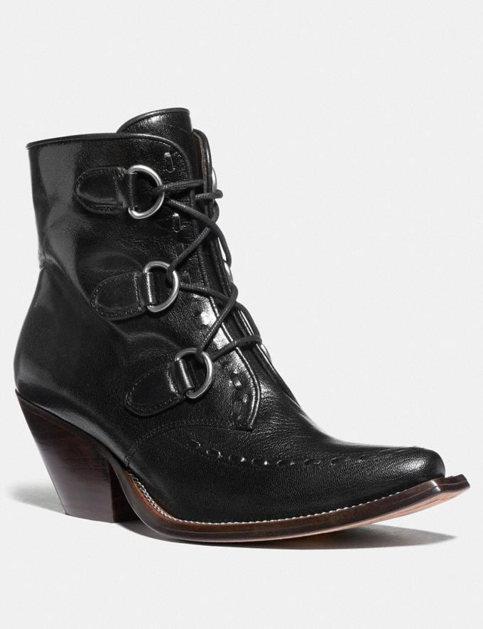 Coach Lace Up Chain Bootie Black Women Shoes Boots