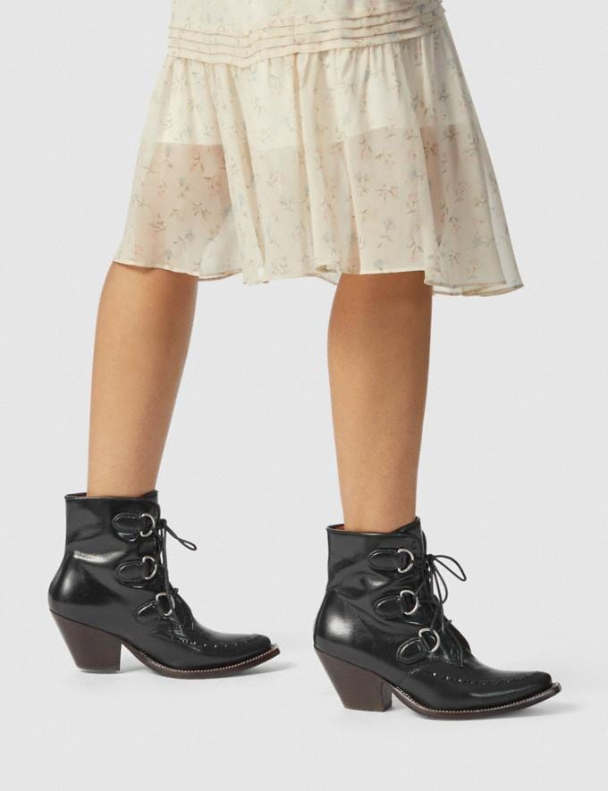 Coach Lace Up Chain Bootie Black Women Shoes Boots Alternate View 4