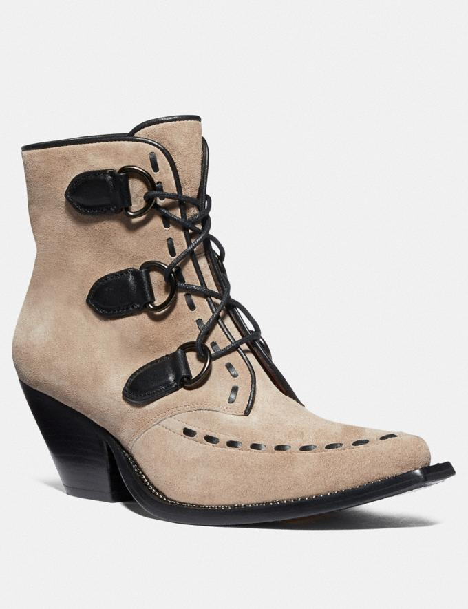 Coach Lace Up Chain Bootie Oat Women Shoes Boots