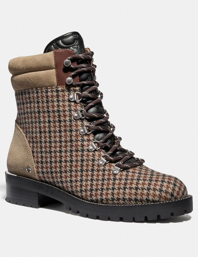 Coach Lorren Bootie With Houndstooth Print Oat/Tan Brown Women Shoes Boots