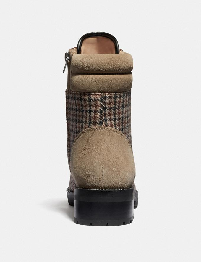 Coach Lorren Bootie With Houndstooth Print Oat/Tan Brown Women Shoes Boots Alternate View 3