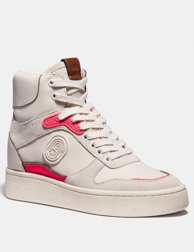 Coach C220 High Top Sneaker Chalk/Fluo Pink Women Shoes Sneakers