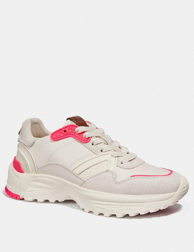 Coach C143 Runner Chalk/Fluo Pink