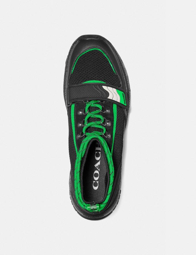 Coach C243 One Strap Runner Black Fluo Green Men Shoes Trainers Alternate View 2