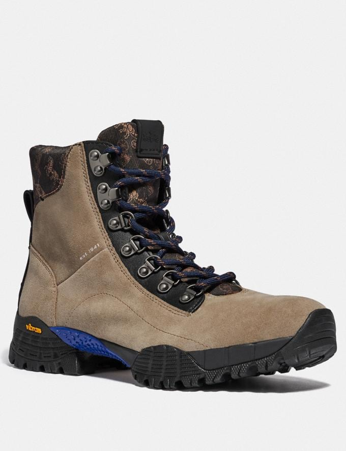 Coach Hybrid Urban Hiker Boot With Horse and Carriage Print Mushroom Multi New Men's New Arrivals Collection
