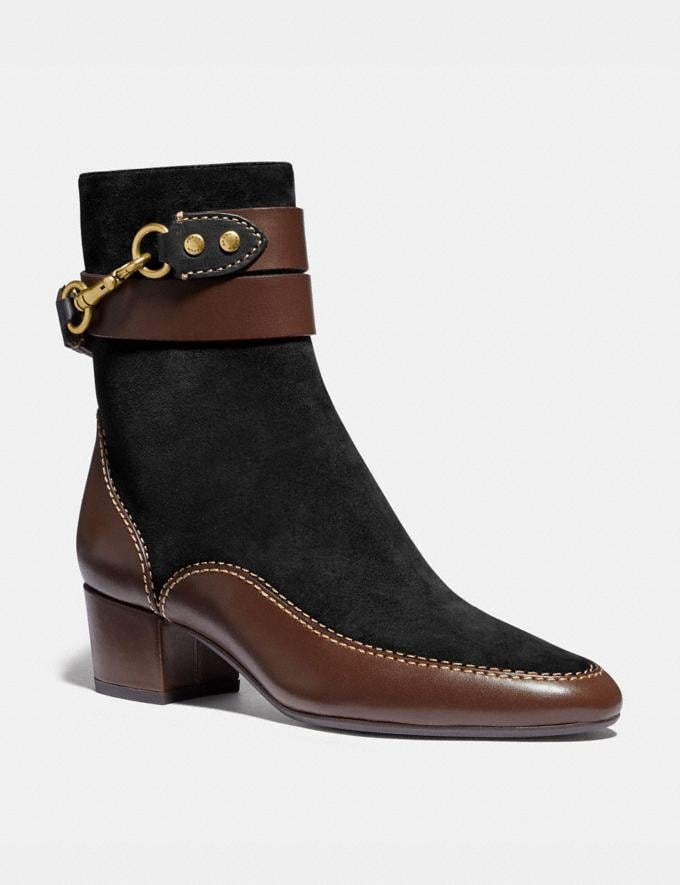 Coach Corrine Bootie Black/Walnut New Women's New Arrivals Shoes