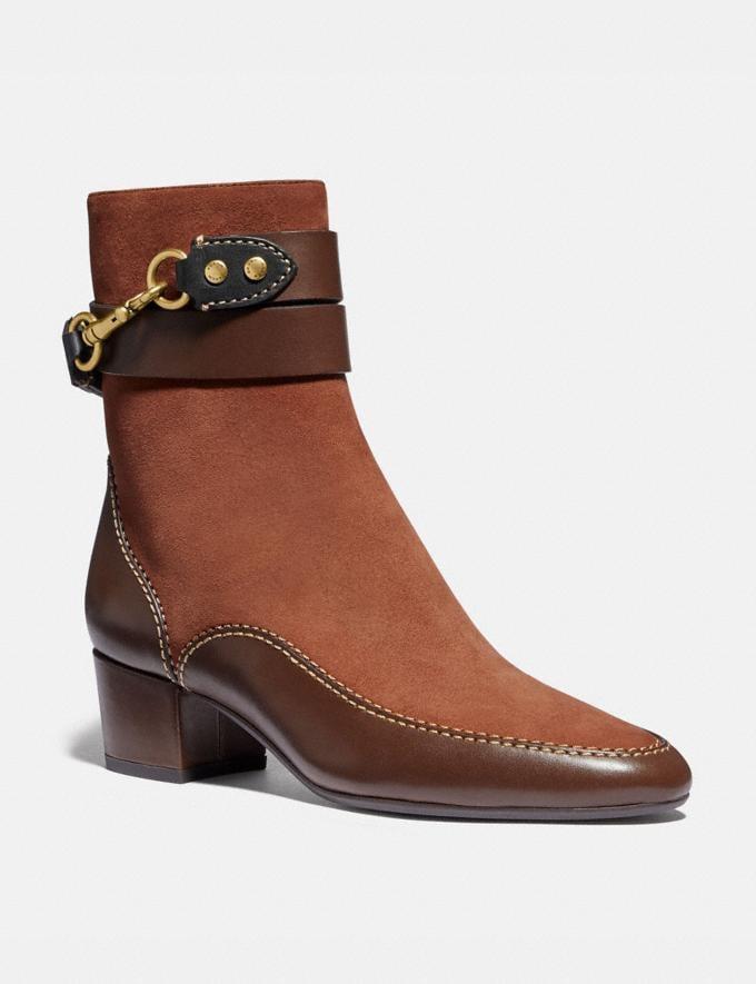 Coach Corrine Bootie 1941 Saddle/Walnut New Women's New Arrivals Shoes