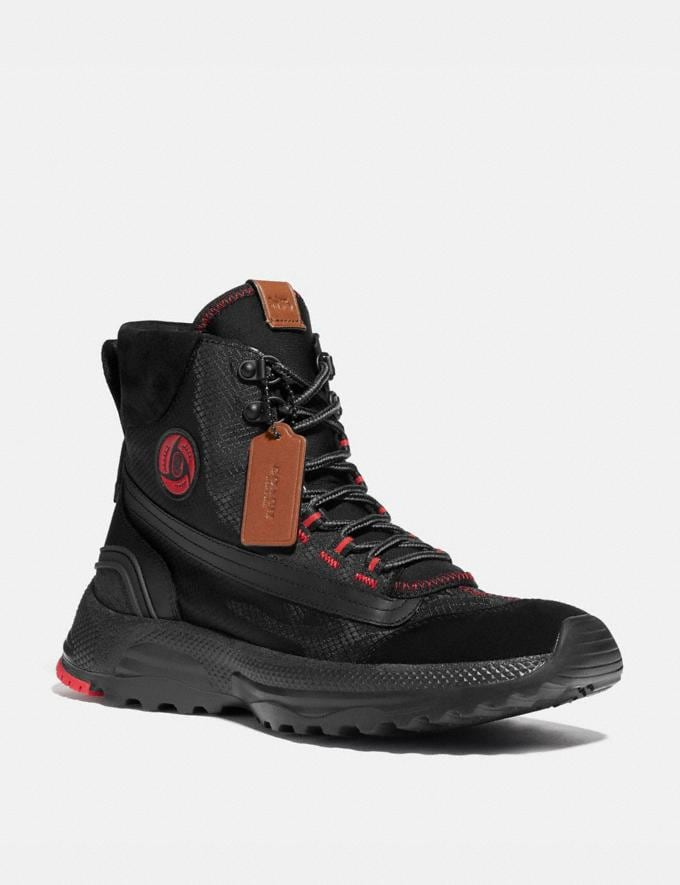 Coach Coach X Michael B. Jordan Hybrid Urban Hiker Black Ninjutsu Red Men Shoes Boots