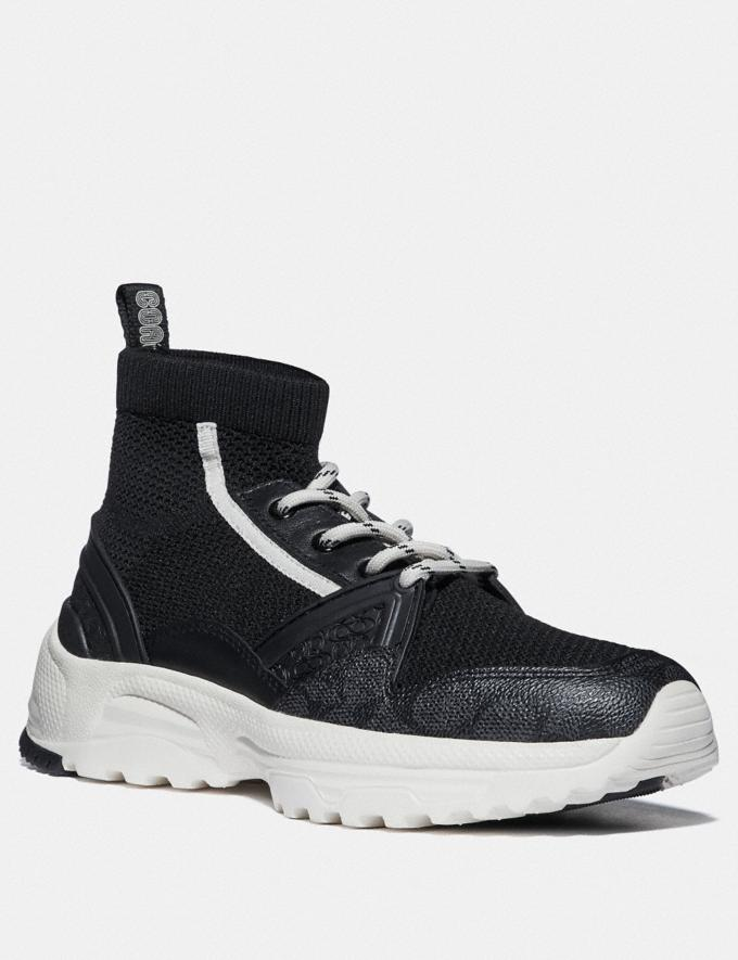 Coach C245 High Top Runner Black/White SALE Women's Sale Shoes