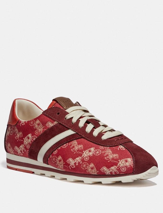 Coach C170 Retro Runner With Horse and Carriage Print Red/Racing Orange New Women's New Arrivals