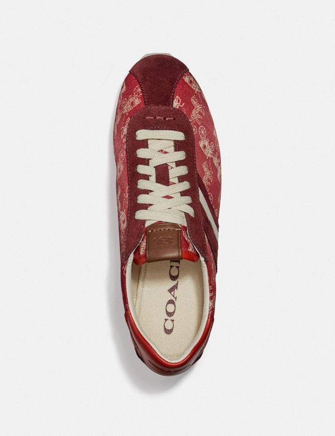 Coach C170 Retro Runner With Horse and Carriage Print Red/Racing Orange New Women's New Arrivals Alternate View 2