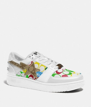 BASKETS BAPE X COACH BAPESTA AVEC MOTIF STA EN TOILE EXCLUSIVE ET APE HEAD