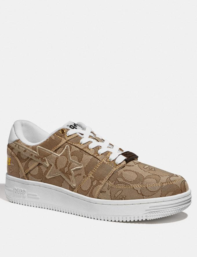 Coach Bape X Coach Bapesta Sneaker With Sta Motif in Signature Jacquard With Ape Head Tan Multi