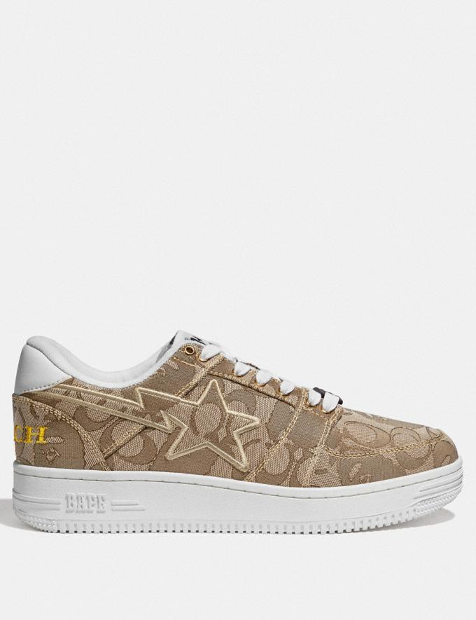 Coach Bape X Coach Bapesta Sneaker With Sta Motif in Signature Jacquard With Ape Head Tan Multi  Alternate View 1