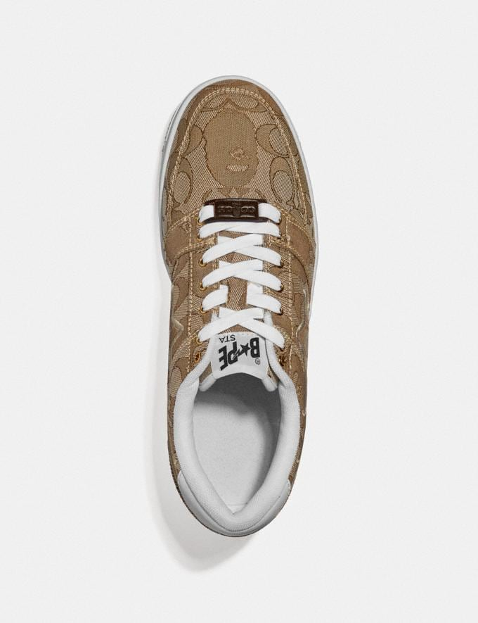 Coach Bape X Coach Bapesta Sneaker With Sta Motif in Signature Jacquard With Ape Head Tan Multi  Alternate View 2