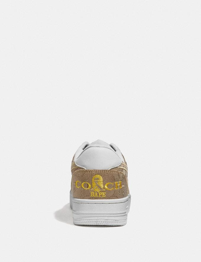 Coach Bape X Coach Bapesta Sneaker With Sta Motif in Signature Jacquard With Ape Head Tan Multi  Alternate View 3