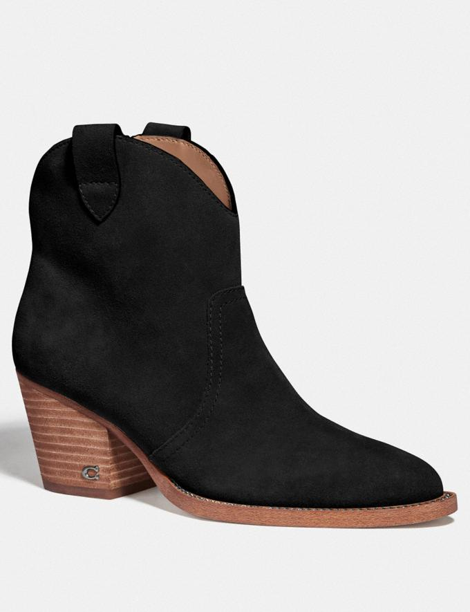 Coach Paige Western Bootie Black Women Shoes Boots