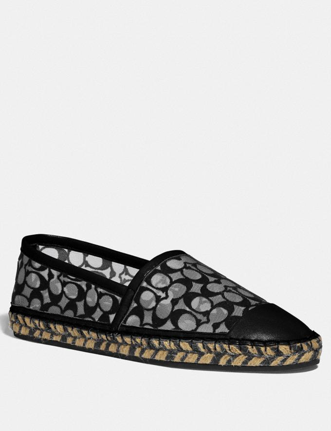 Coach Cleo Espadrille Black Women Shoes Flats