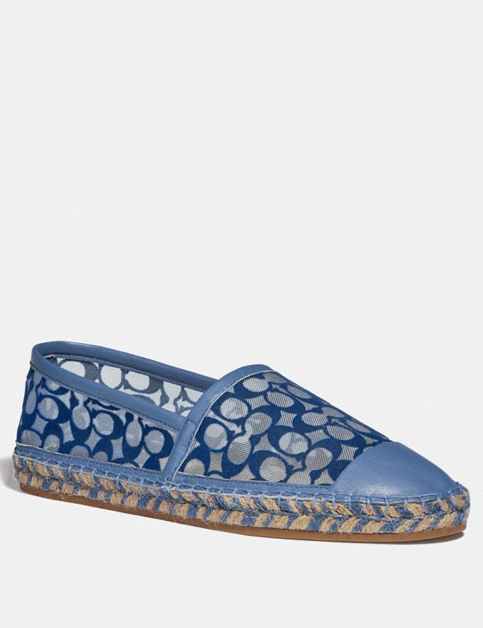 Coach Cleo Espadrille Stone Blue Women Shoes Flats