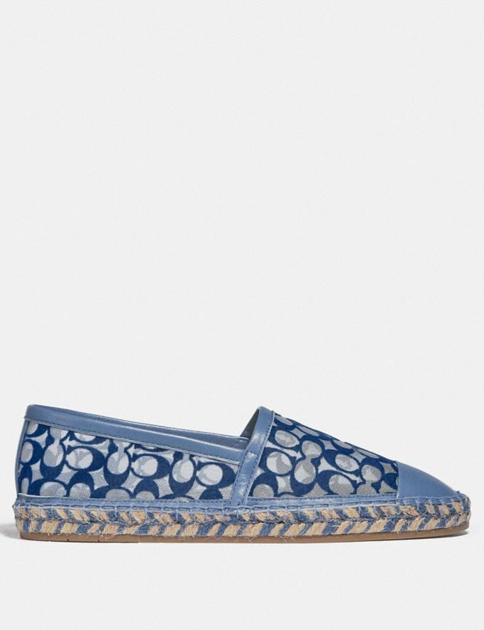 Coach Cleo Espadrille Stone Blue Women Shoes Flats Alternate View 1