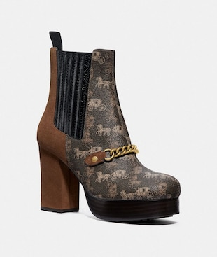 CHELSEA PLATFORM BOOTIE WITH HORSE AND CARRIAGE PRINT