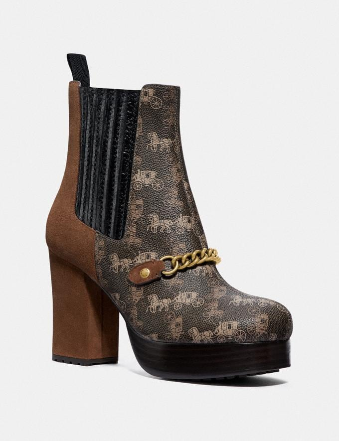 Coach Chelsea Platform Bootie With Horse and Carriage Print Brown/Saddle Women Shoes