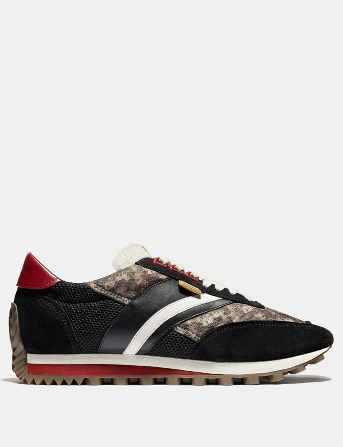 Coach C180 Low Top Sneaker With Horse and Carriage Print Multi Black Men Shoes Trainers Alternate View 1