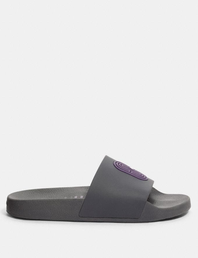 Coach Slide With Coach Patch Industrial Grey/Dusty Lavender  Alternate View 1