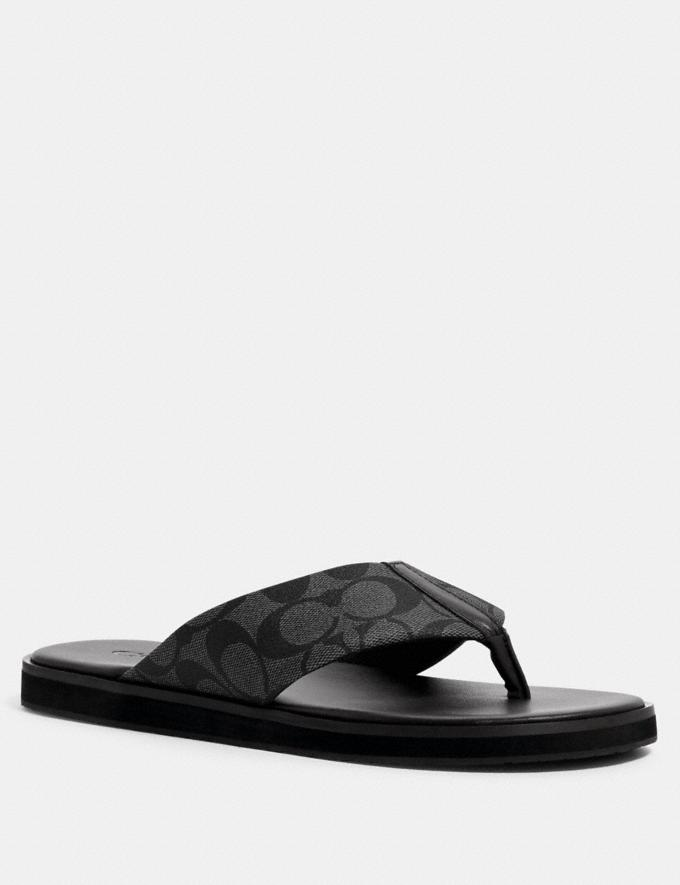 Coach Flip Flop in Signature Canvas Charcoal Multi