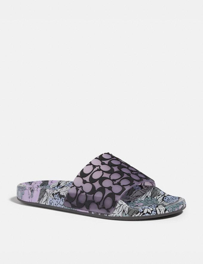 Coach Udele Sport Slide Soft Lilac/Black Women Shoes Flats