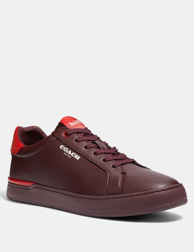 Coach Clip Low Top Sneaker in Colorblock Oxblood Sport Red
