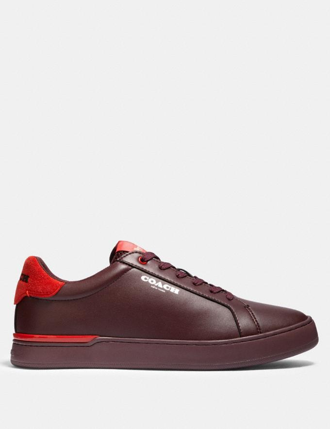 Coach Clip Low Top Sneaker in Colorblock Oxblood Sport Red  Alternate View 1