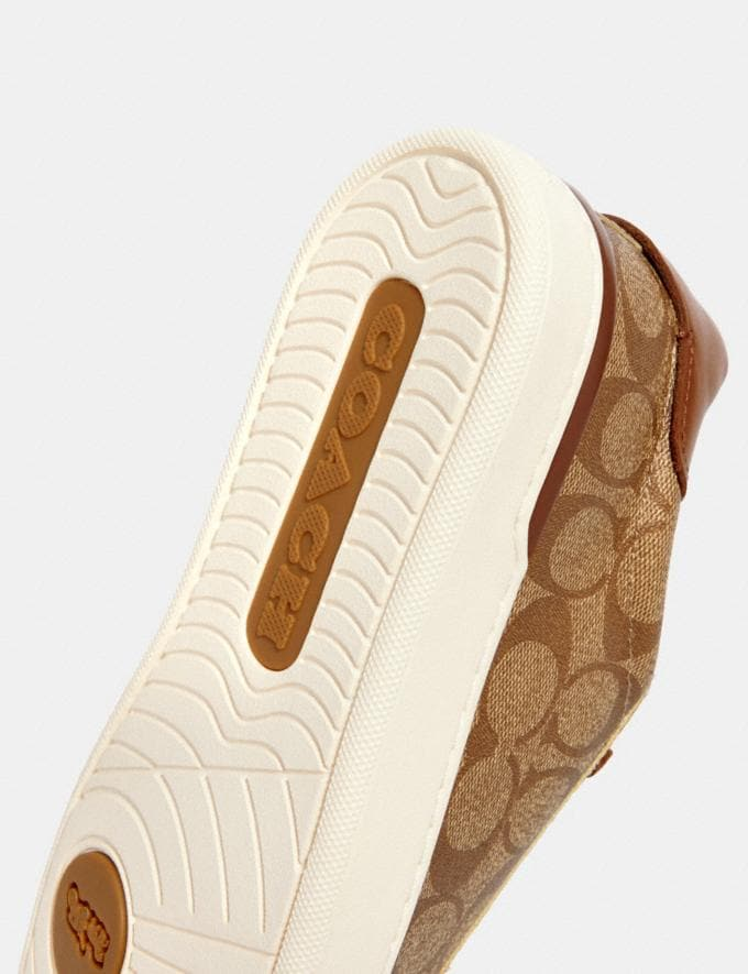 Coach Clip Low Top Sneaker Khaki/Saddle  Alternate View 3