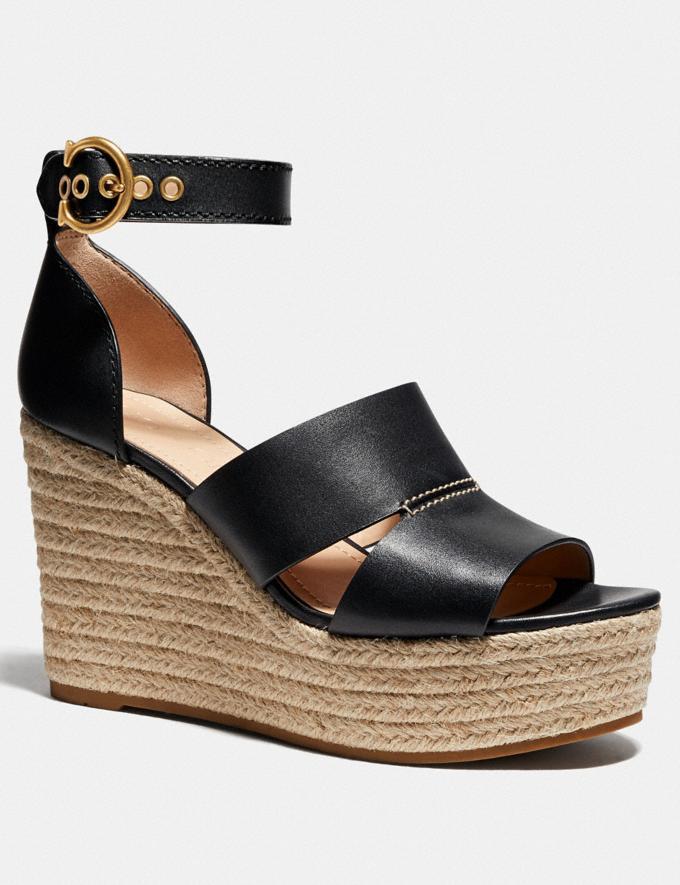 Coach Isla Wedge Black Women Shoes Heels