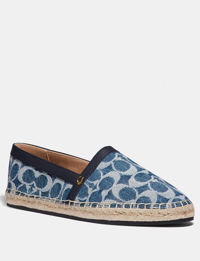 Coach Casey Espadrille Denim Women Shoes Flats