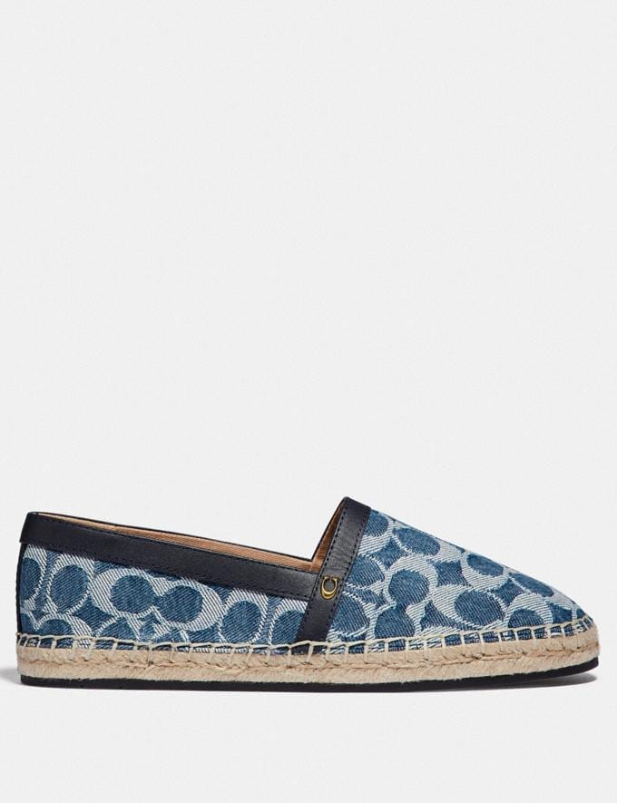 Coach Casey Espadrille Denim Women Shoes Flats Alternate View 1